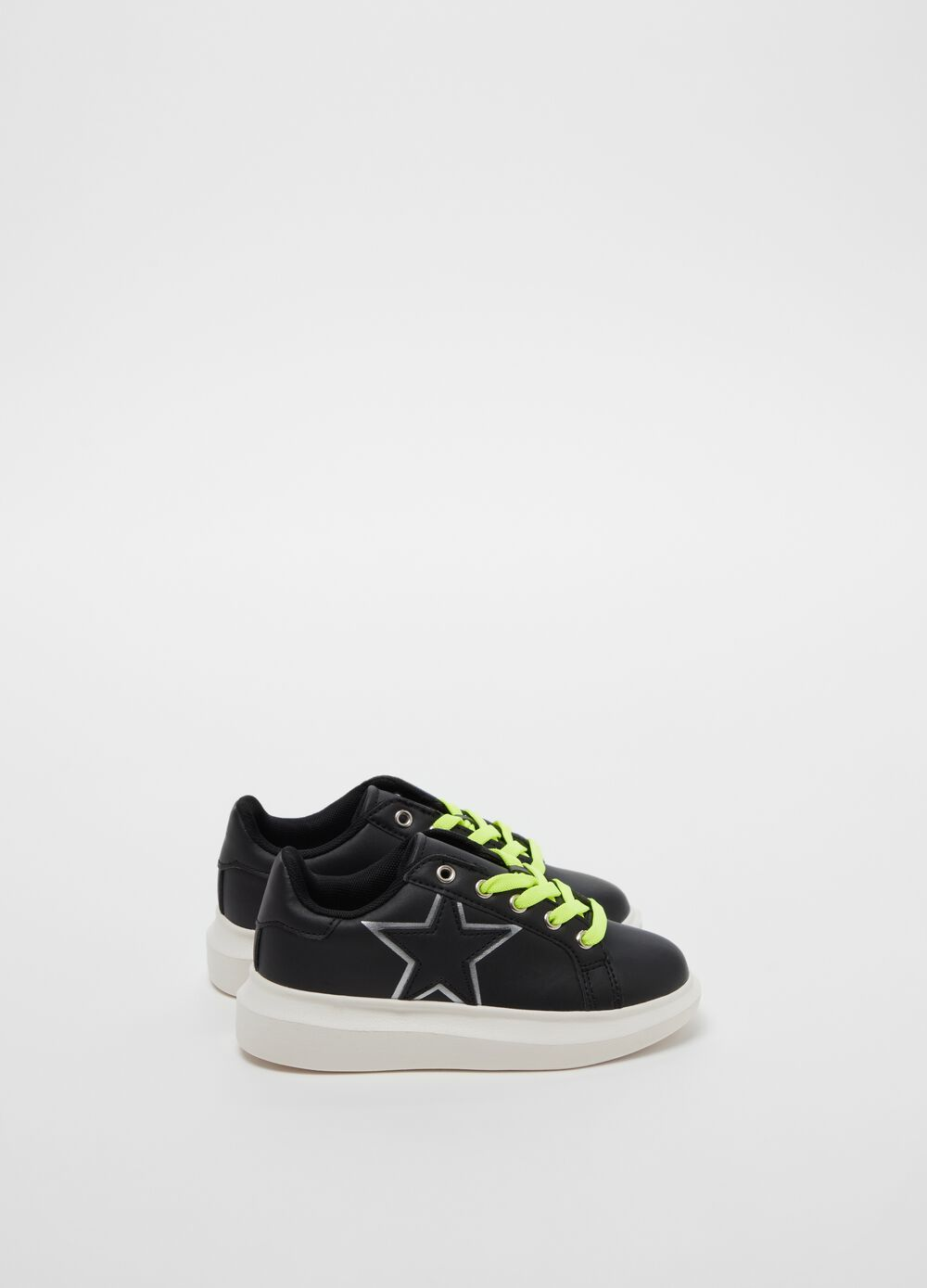Faux leather sneakers with star embroidery