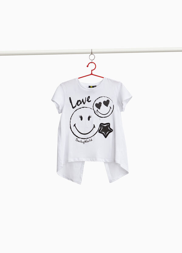 T-shirt with split and Smiley print