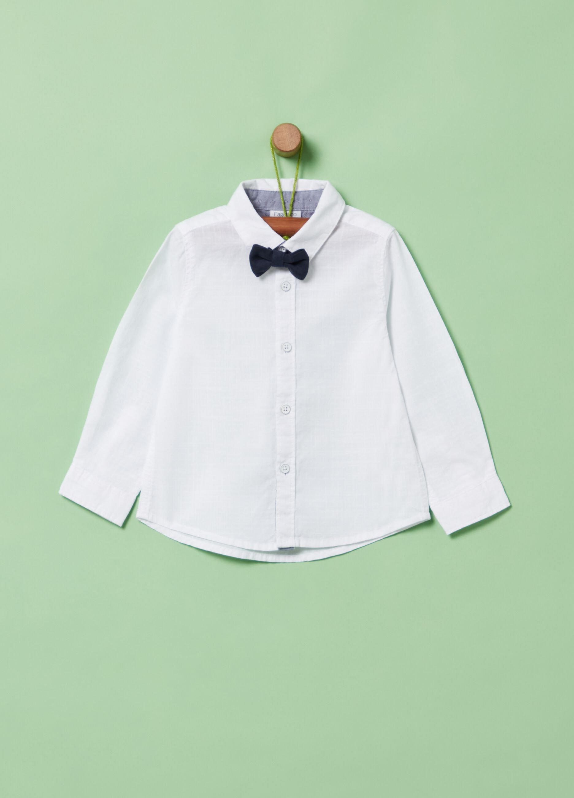 Baby Boy White Blue Smart Shirt Bodysuit Long Sleeve Bowtie Tie 3 6 9 12 18 24 m