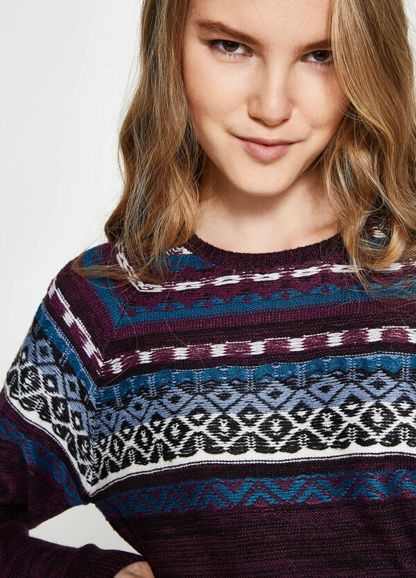 Knitted pullover with geometric print | OVS