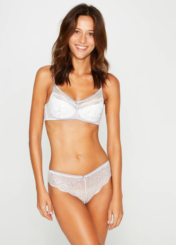 Embroidered lace bra