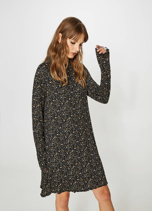 Stretch viscose dress with all-over print | OVS