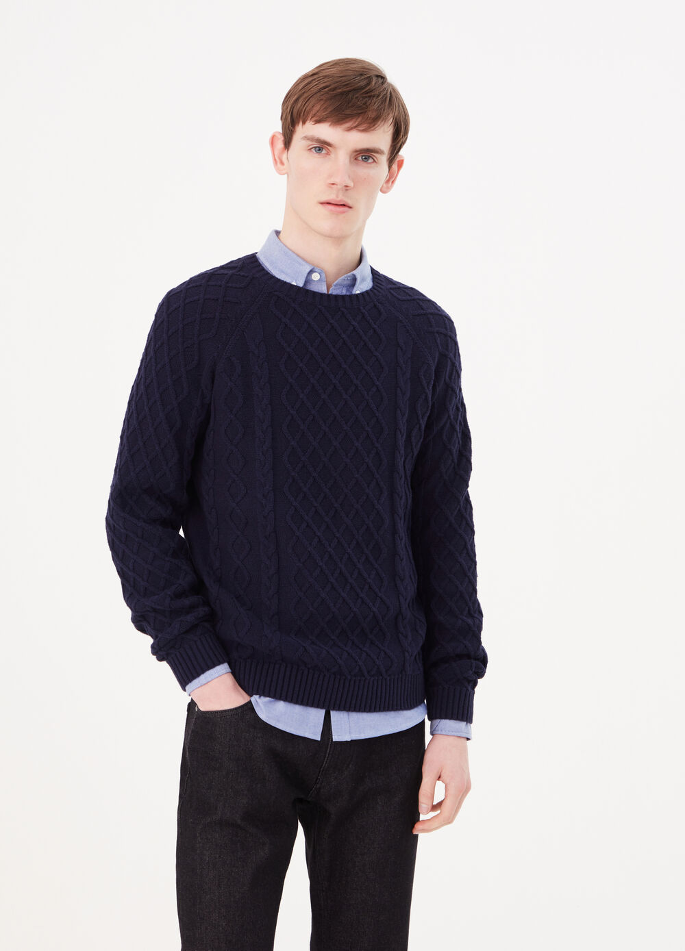Solid colour 100% cotton knit pullover