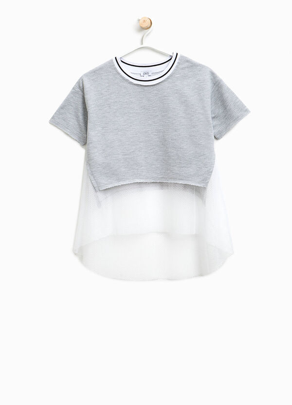 Crop T-shirt with mesh faux layer | OVS