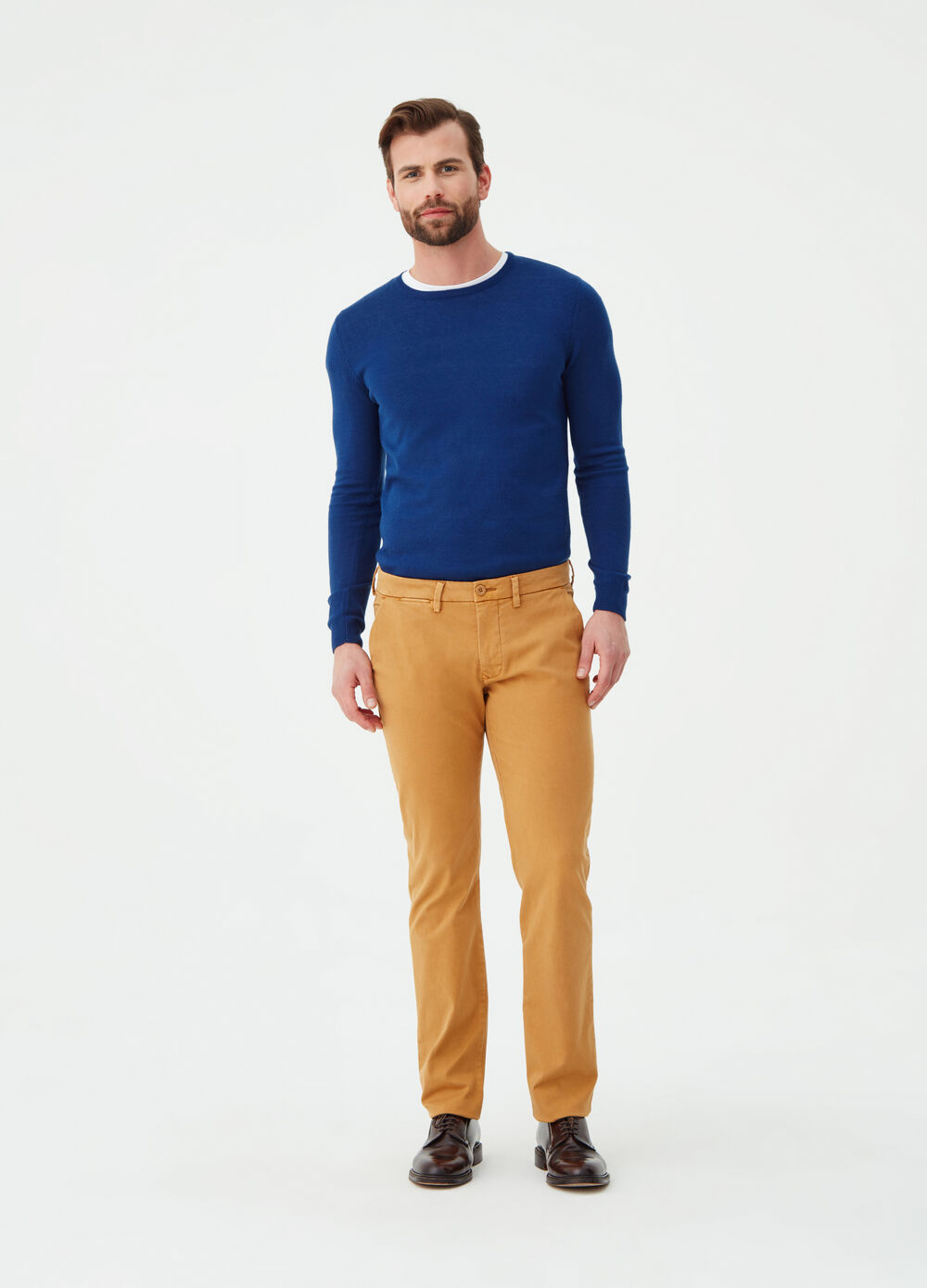 8bf2f0988 Solid colour slim-fit stretch chino trousers