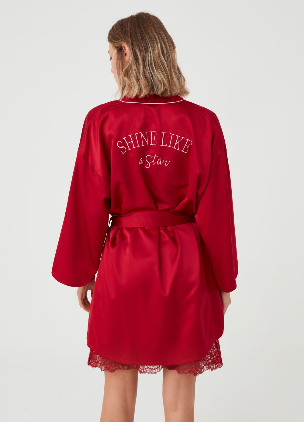 Satin dressing gown with embroidery and belt