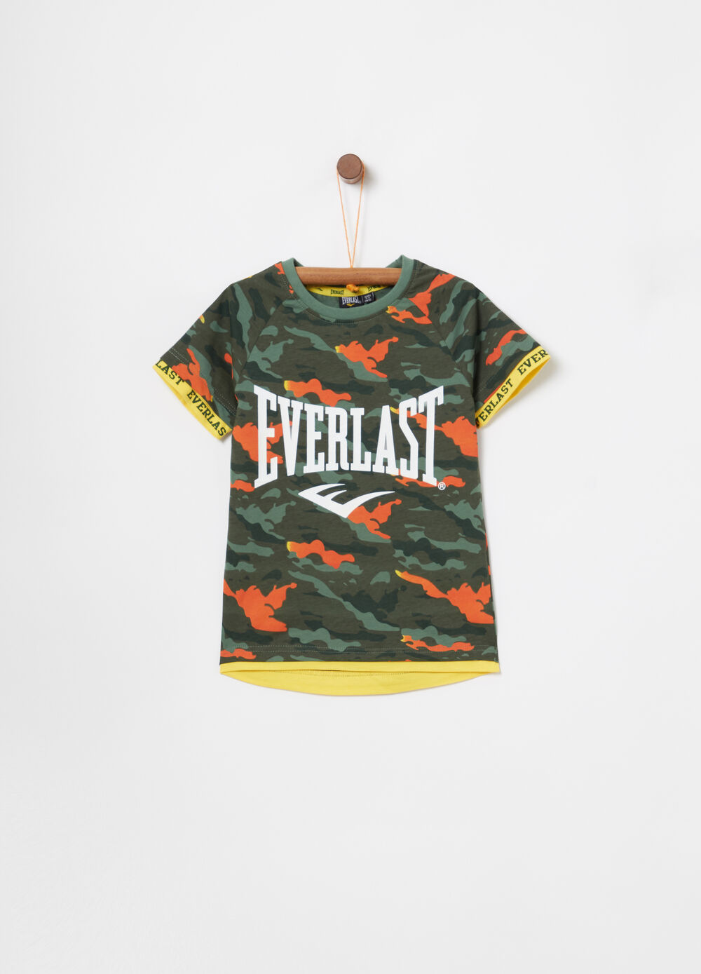 Lightweight cotton T-shirt with camouflage print