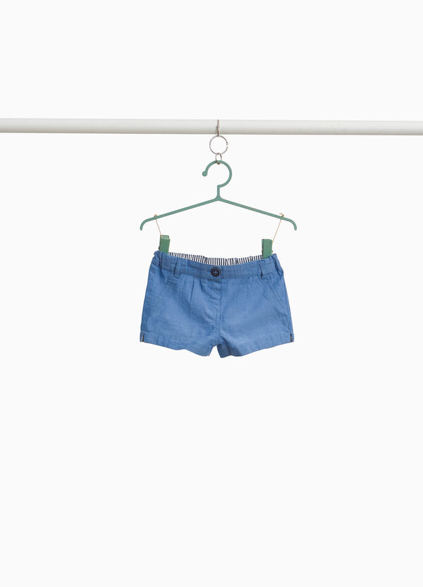 100% cotton shorts with splits