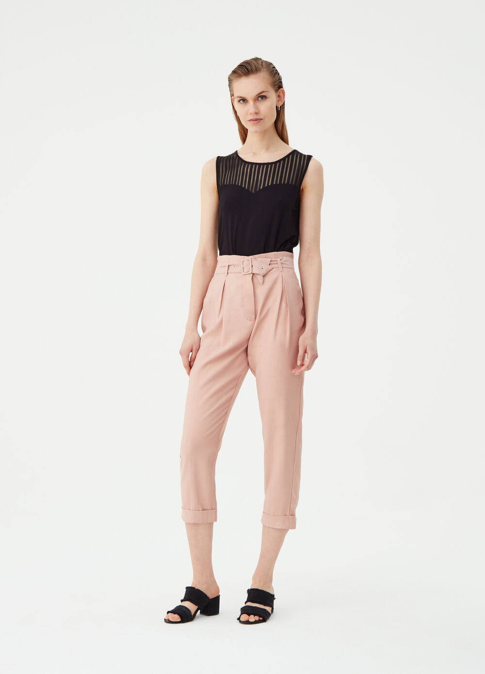 Carrot-fit trousers with belt and buckle