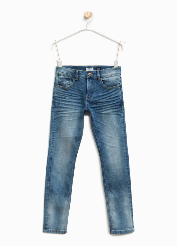 Straight-fit worn-effect jeans with abrasions | OVS