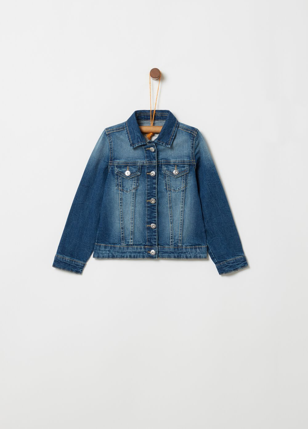 Denim jacket with sequins on the back