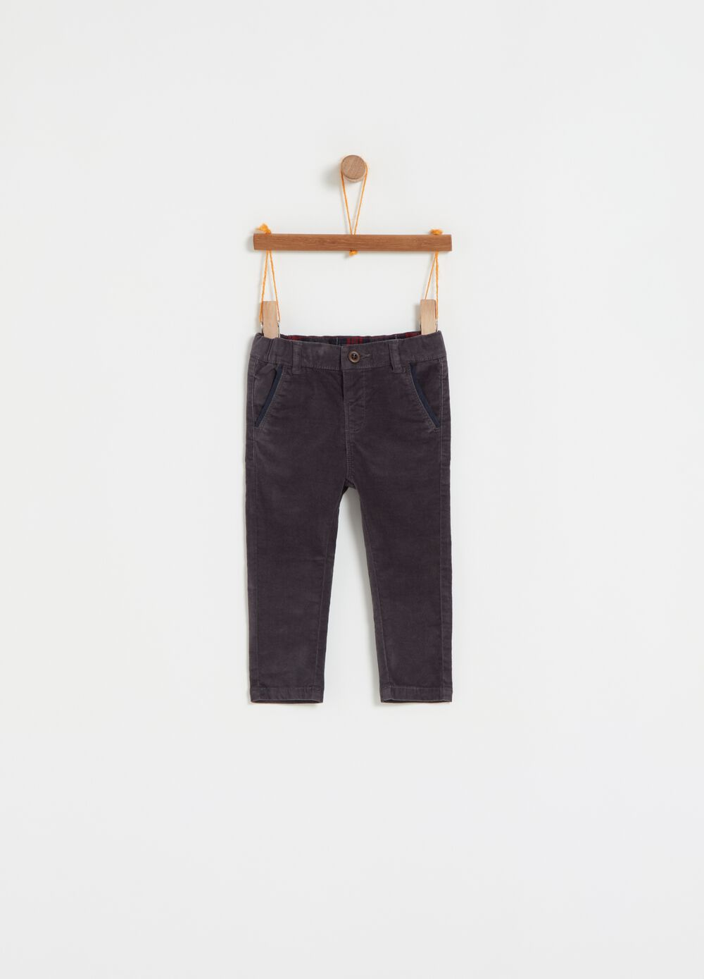 Stretch flannelette trousers with pockets