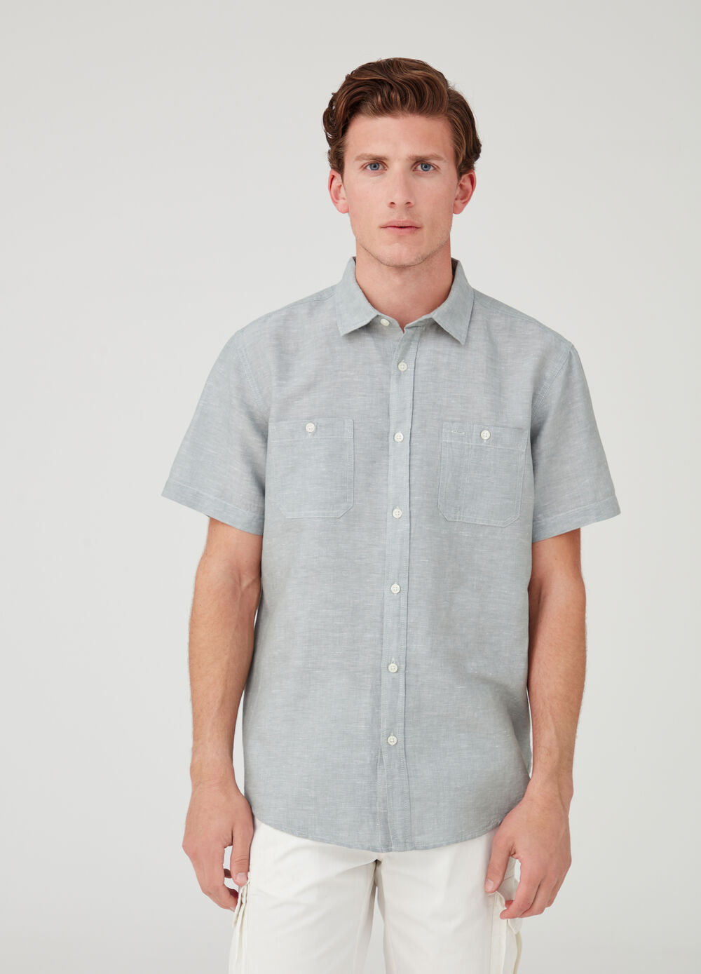 Mélange shirt with short sleeves and pockets