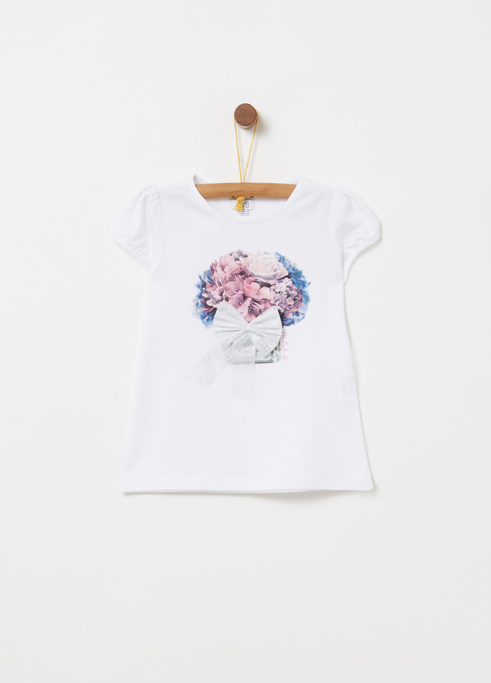 T-shirt with floral print, bow and diamantés