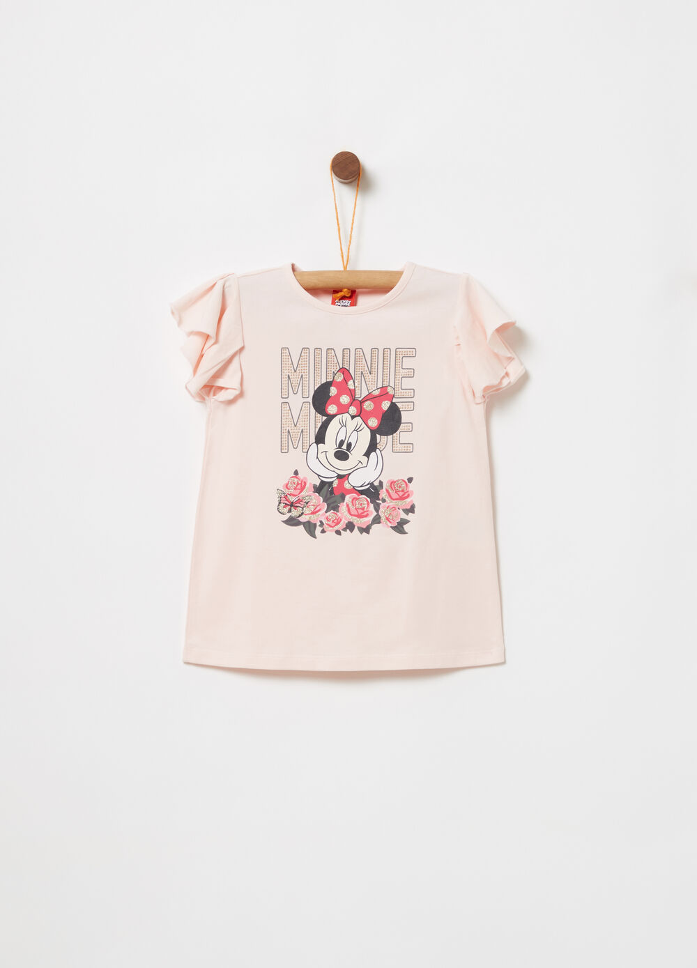 T-shirt with flounce and Disney Minnie Mouse print