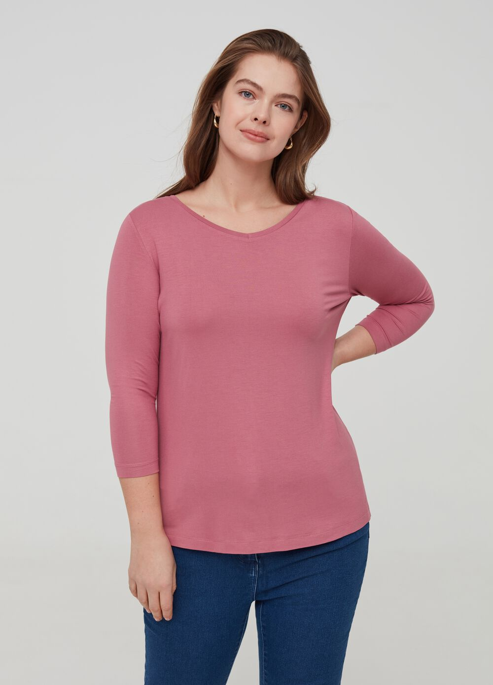 Curvy T-shirt in stretch viscose