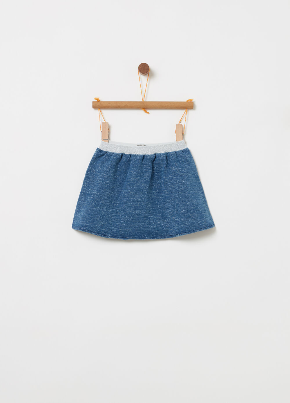 Lightweight denim skirt with glitter