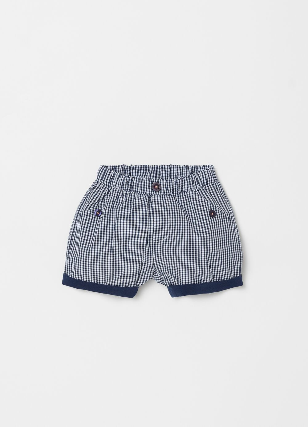 100% cotton micro check shorts with pockets