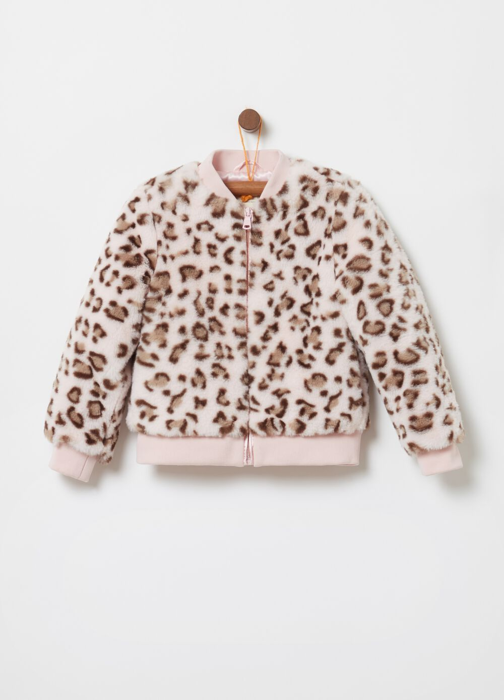Faux fur jacket with animal print pattern
