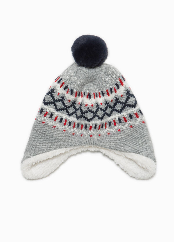 Knitted pattern beanie cap