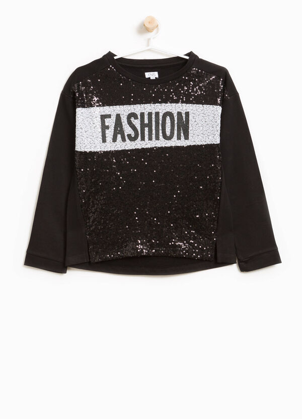 Sweatshirt in 100% cotton with print and sequins | OVS
