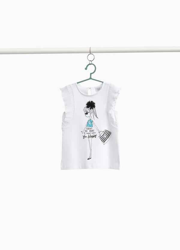 Cotton top with pleated flounce and diamantés