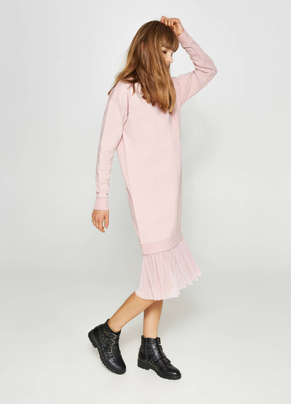 Stretch cotton dress with tulle