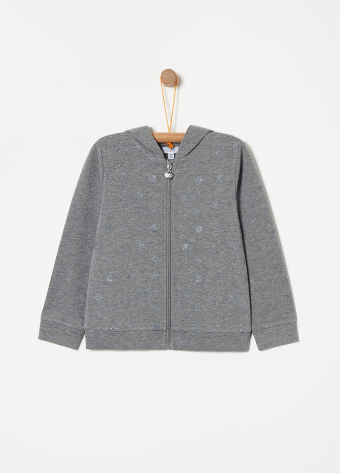Glitter patterned sweatshirt with zip and hood