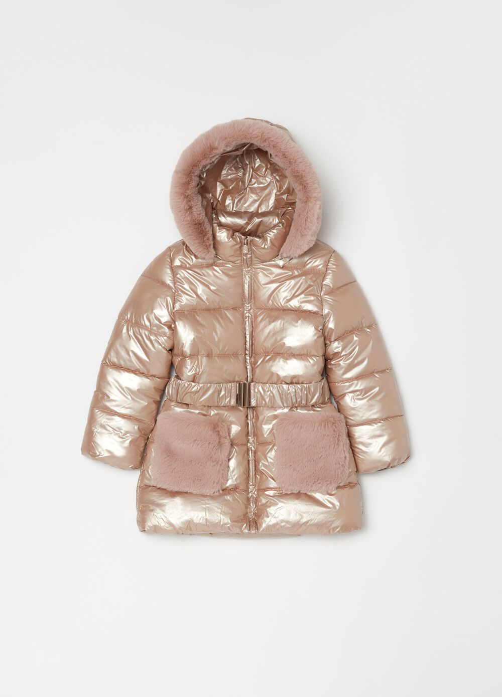 Long padded jacket with fur