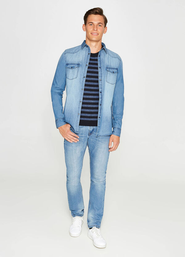 Casual denim shirt with small pockets   OVS