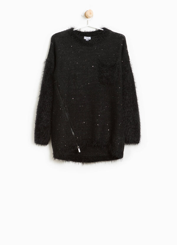 Frayed knitted pullover with sequins | OVS