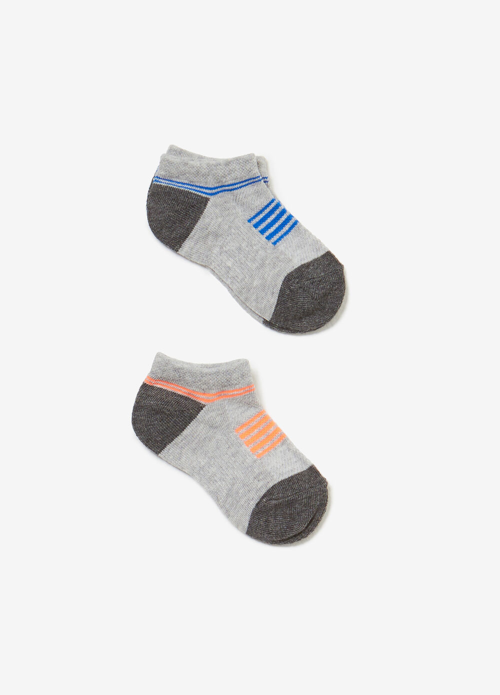 Two-pair pack short socks with striped inserts