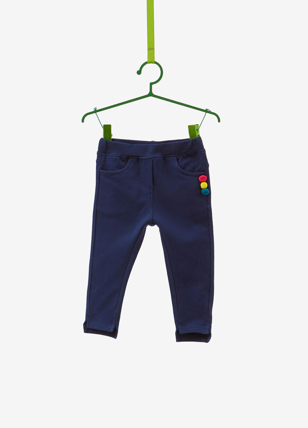 Stretch cotton trousers with pompoms