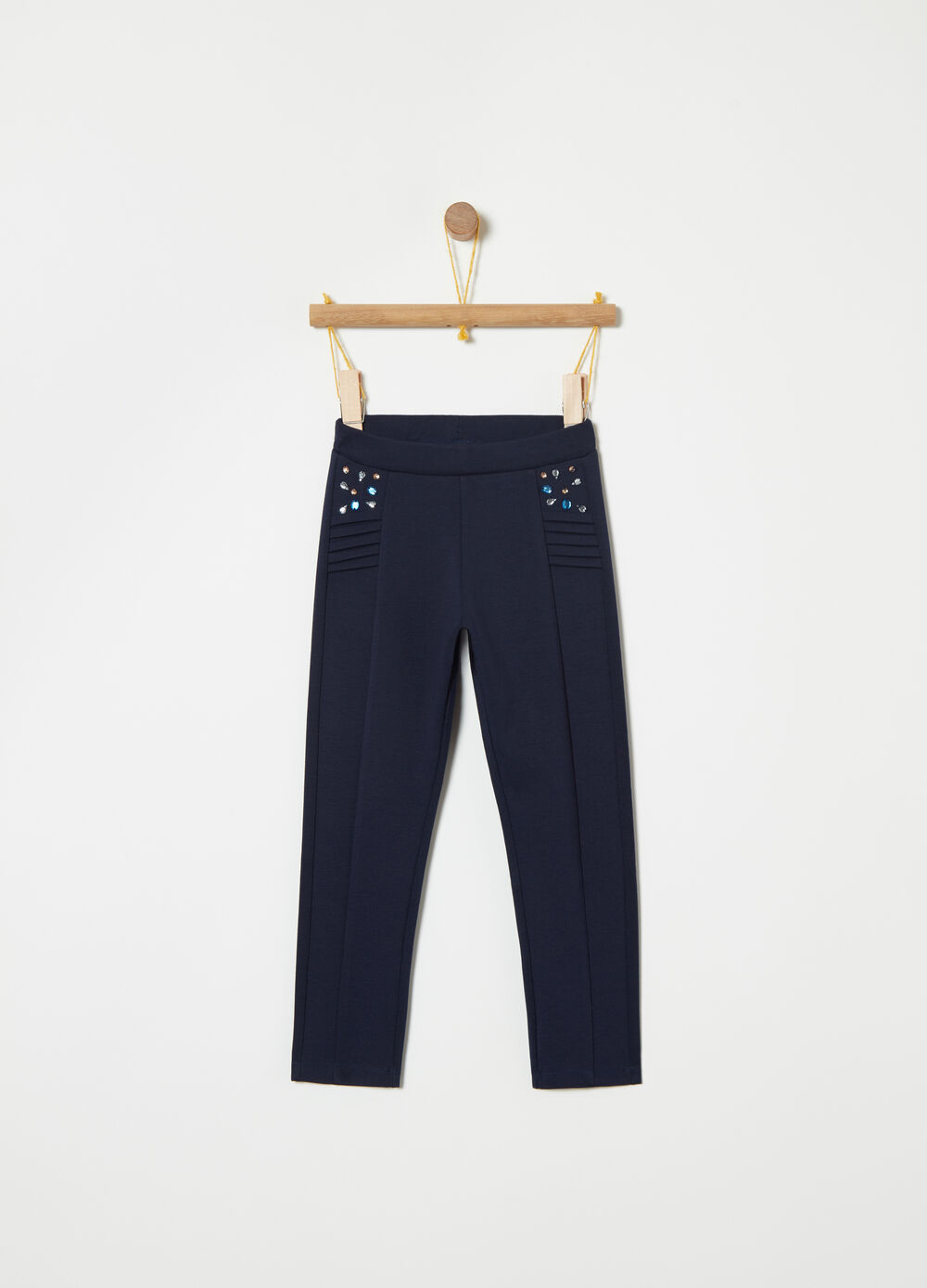 Milano-stitch trousers with diamantés