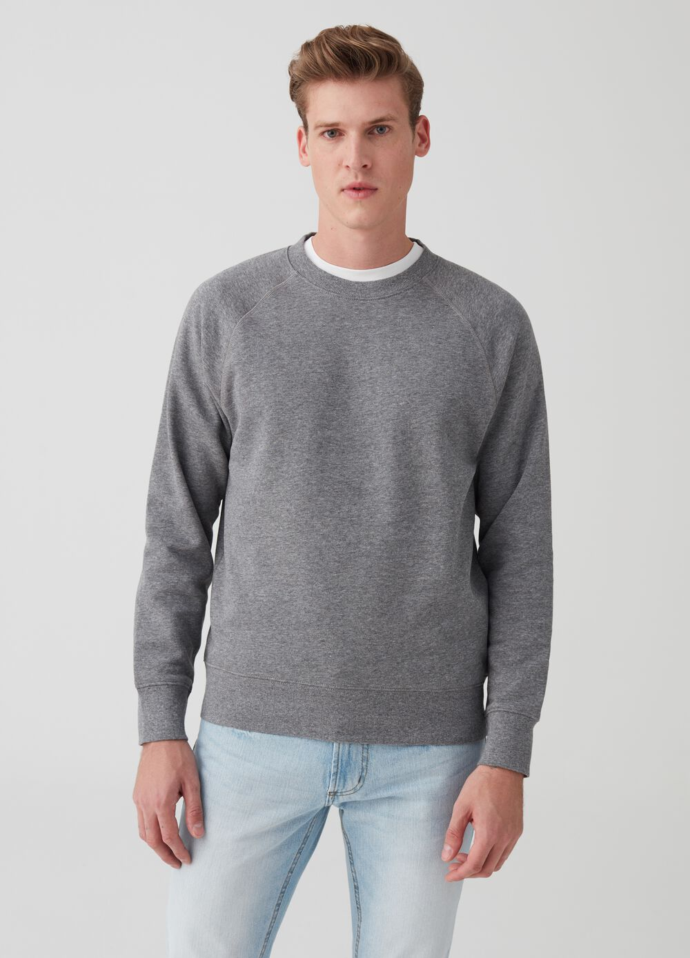 Mélange sweatshirt with round neck