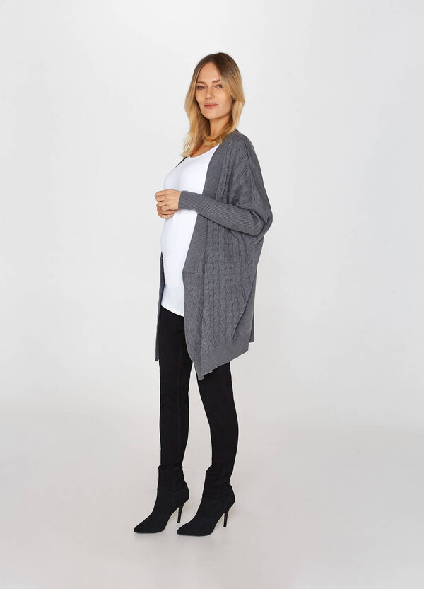 MUM cable knit mélange cardigan