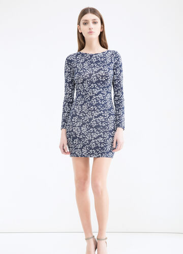 Short patterned dress in stretch cotton
