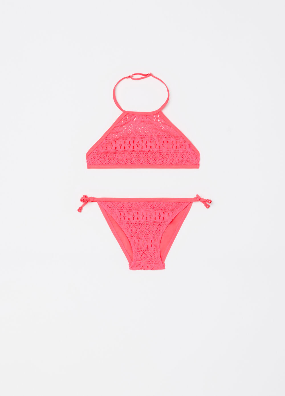 Stretch bikini with top and briefs with openwork weave