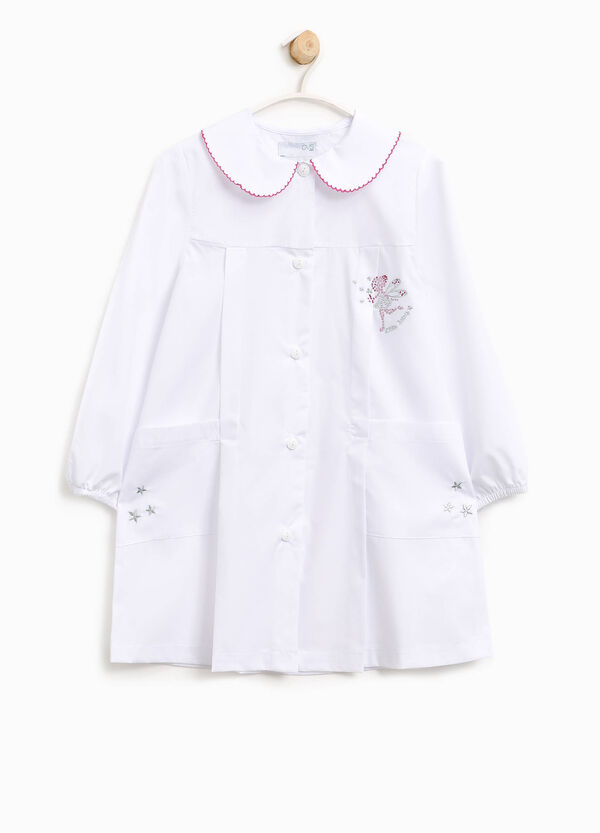 Embroidered cotton blend smock with diamantés | OVS