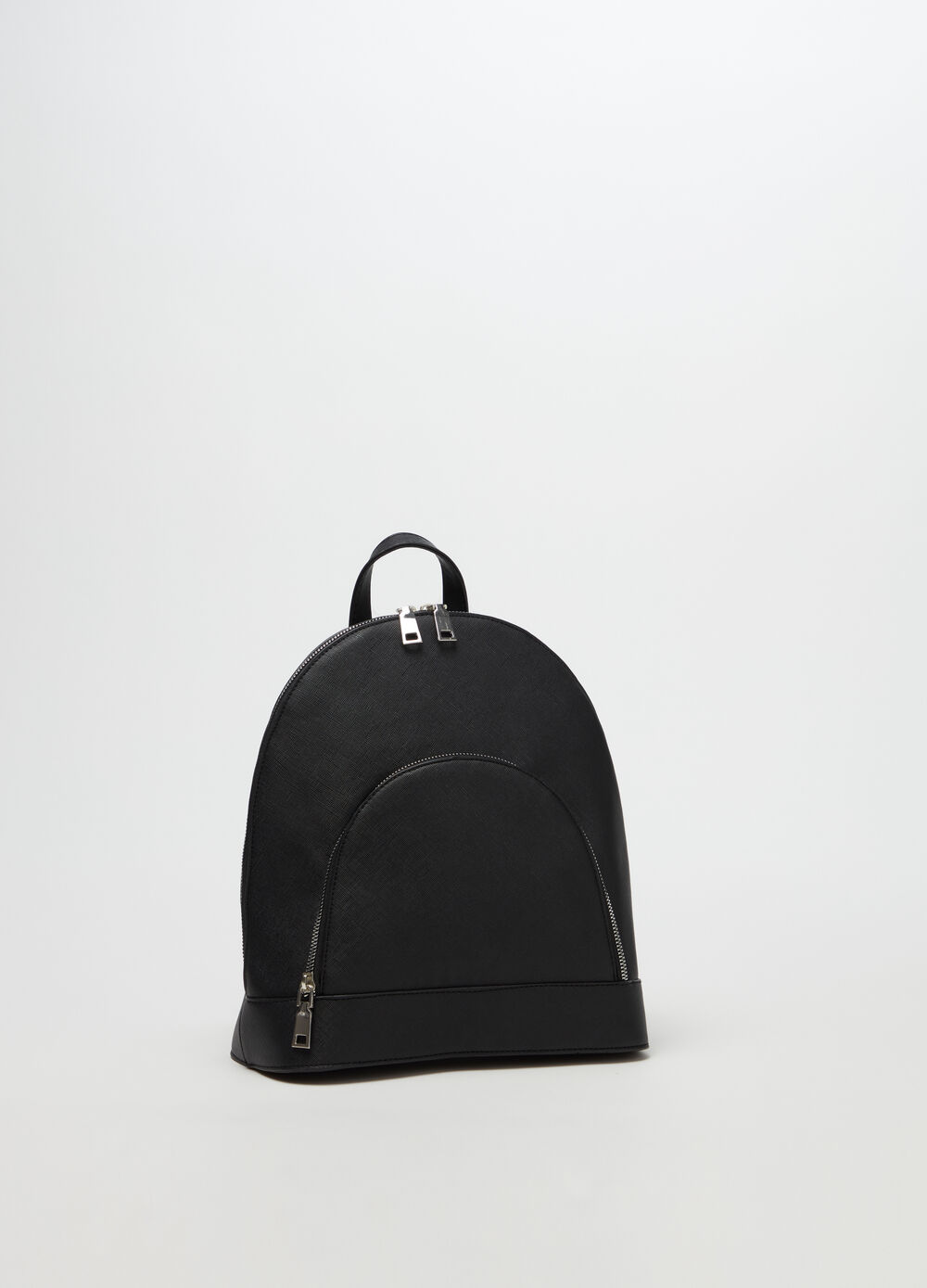 Saffiano-effect backpack with pocket and zip