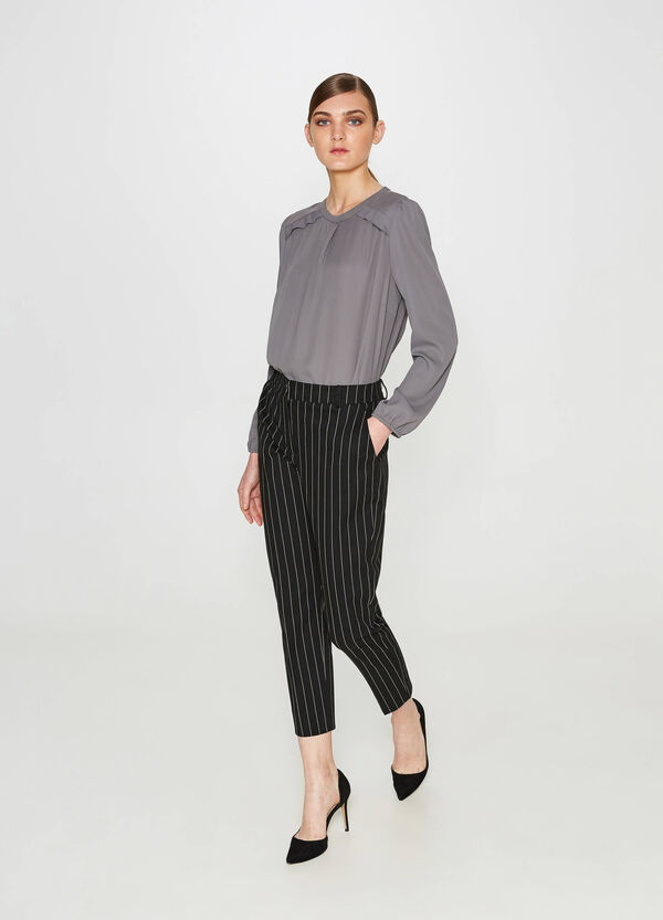 Pleated solid colour blouse | OVS