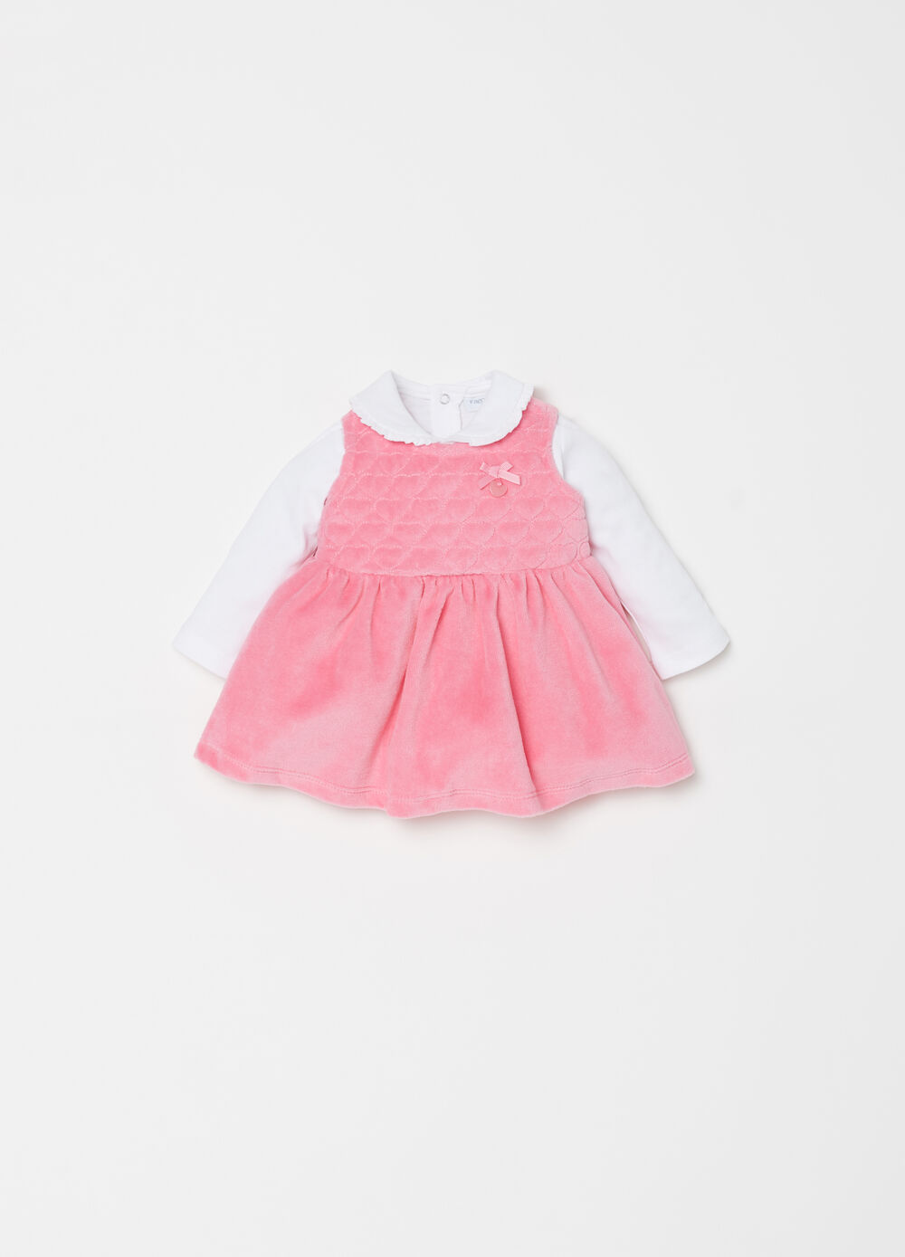 Chenille-effect dress and polo shirt set