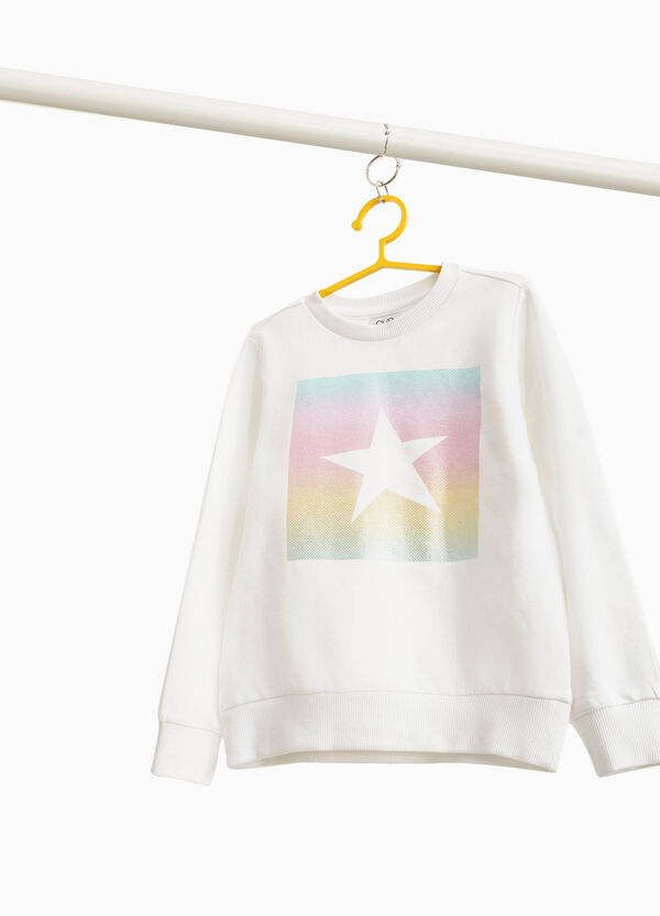 Stretch cotton sweatshirt with star print