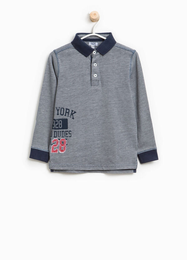 Cotton blend polo shirt with print | OVS