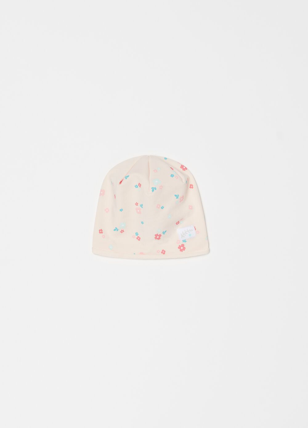 Jersey hat with floral pattern