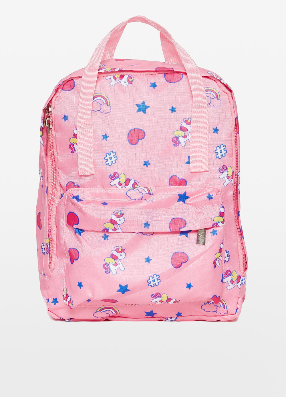Heart and unicorn patterned backpack
