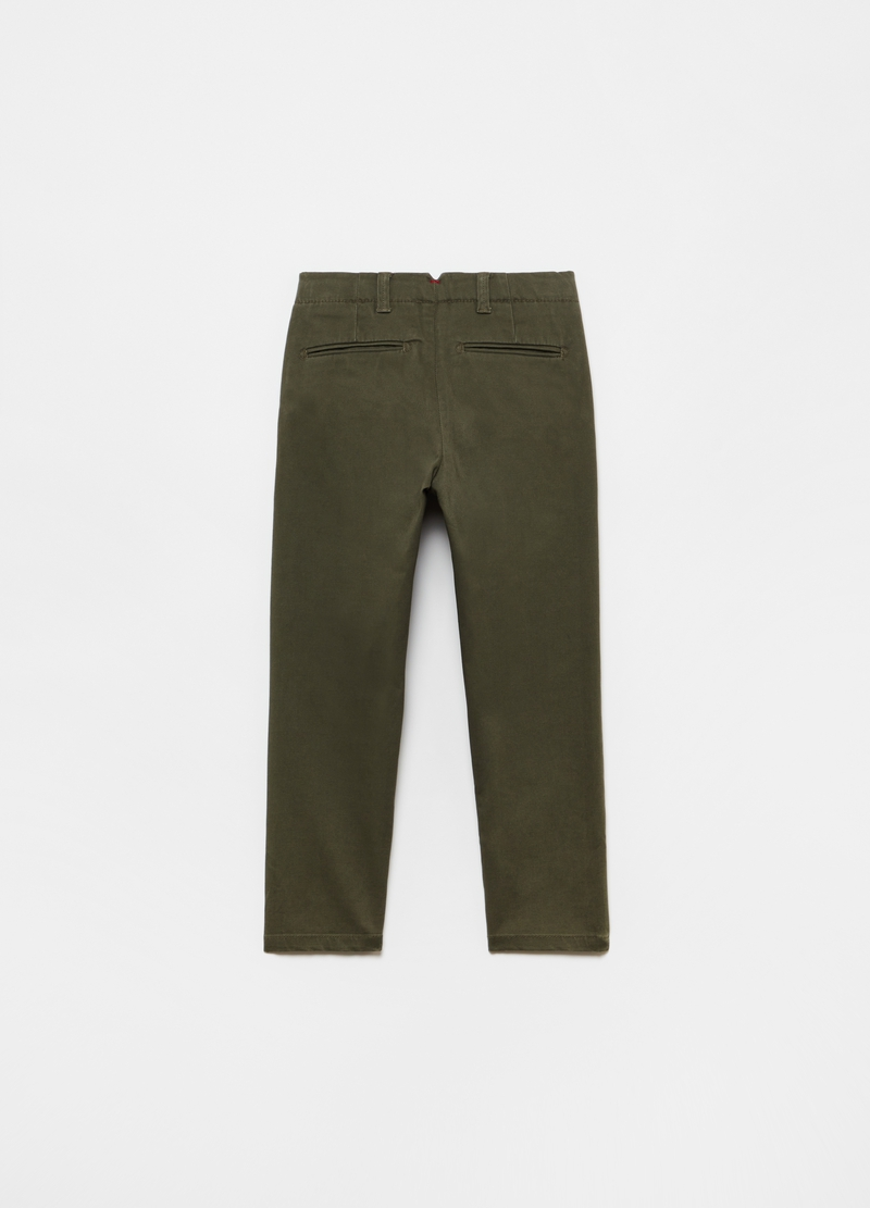 Solid colour stretch cotton chino trousers image number null