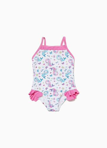 One-piece stretch swimsuit with flounce and mermaids