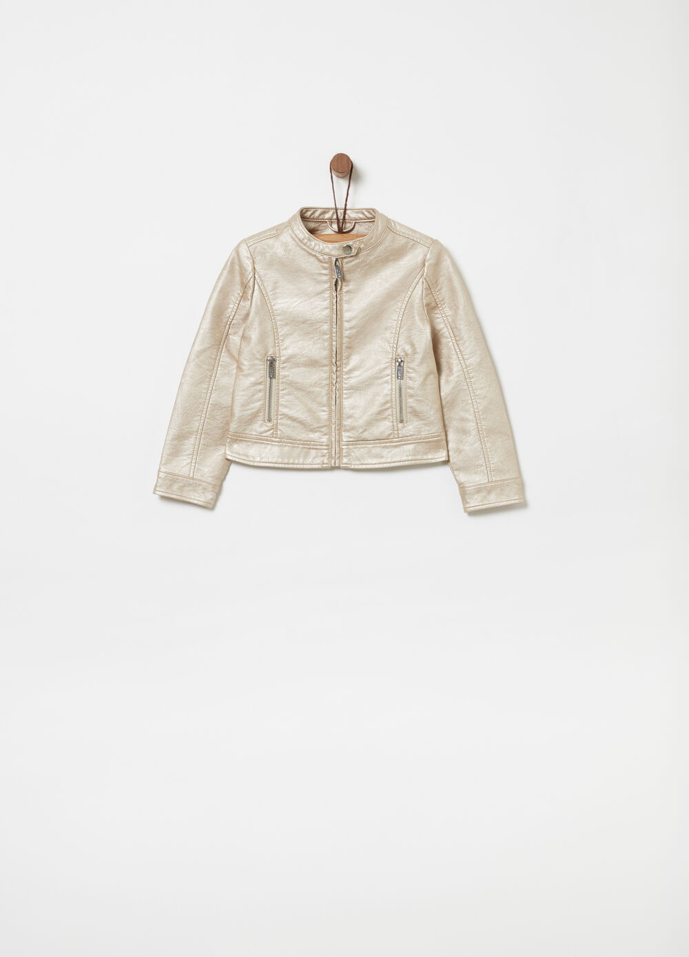 Gold-effect leather-look jacket
