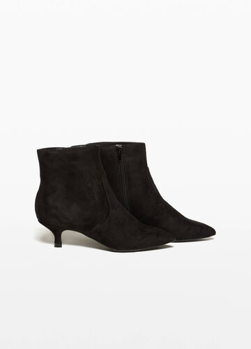 Suede satin ankle boots
